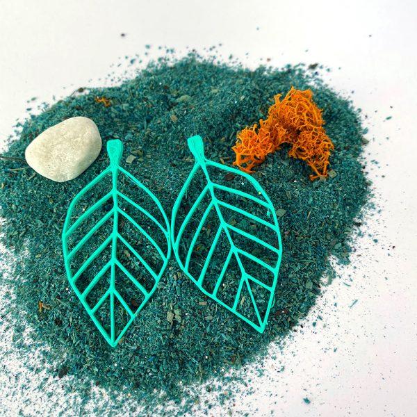Pendientes Leaf turquesa en impresión 3D